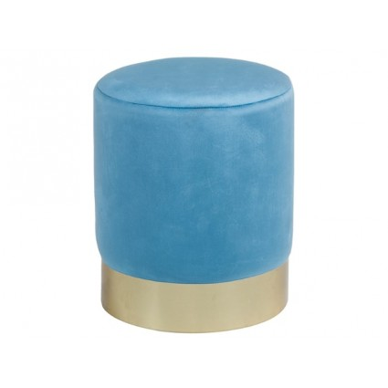 Taburete redondo de tela suave azul y dorado - TOR