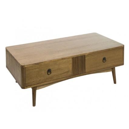 Mesa de centro de estilo nórdico color marrón dos cajones - FENG