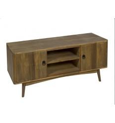 Mueble de televisión de estilo nórdico color marrón dos puertas y dos estantes - FENG