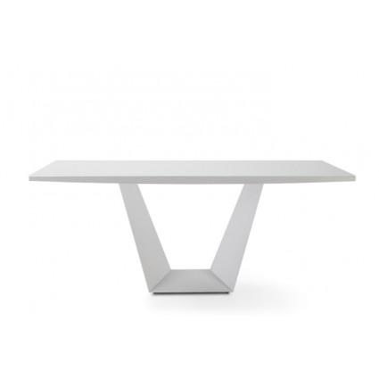 Mesa de comedor metal blanco mate - YUMA