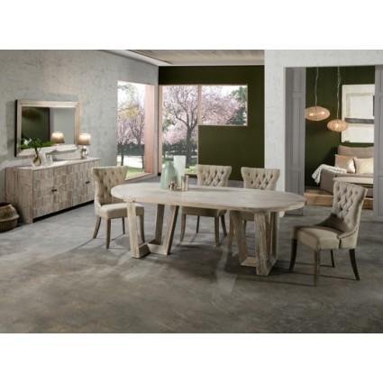 Mesa de comedor ovalada de madera - MORGAN