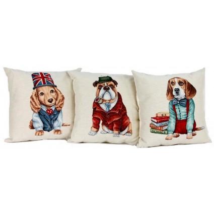 Set 3 cojines tonos variados de Hermes - DOGS